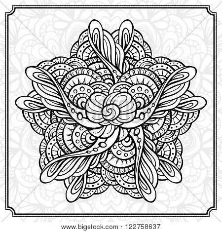 Vector abstract black and white mandala pattern.