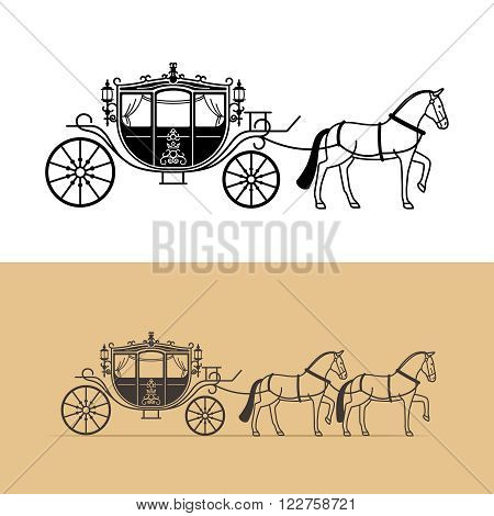 Carriage silhouette with horse. Vector horse carriage silhouette