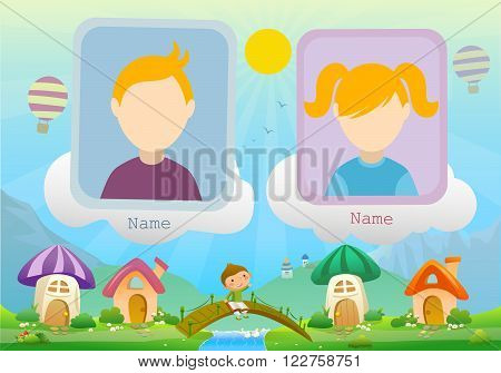 Yearbook about boy with book and fairy landscape with two kids vector
