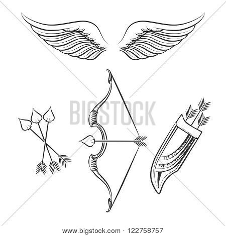 Cupid weapons icons. Hand drawn line cupid weapons on white background. Vector illustration