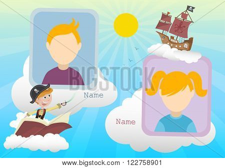 Yearbook about boy pirate and clouds with two kids vector