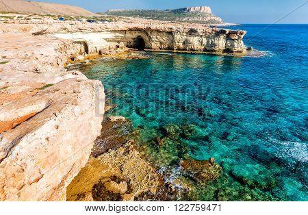 Seashore in Aiya Napa near Cape Greco, Cyprus.