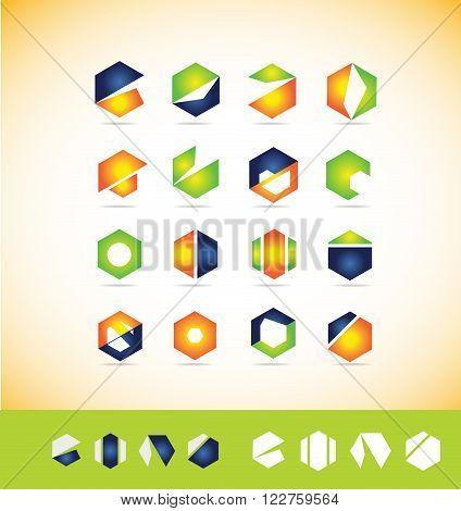 Vector company logo icon element template colors set geometric geometry polygon hexagon simple
