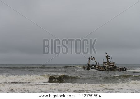 Shipwreck at the Skelleton Coast (Namibia) during a stormy day ** Note: Soft Focus at 100%, best at smaller sizes