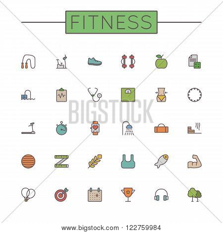 Thirty Vector Colored Fitness Line Icons isolated on white background