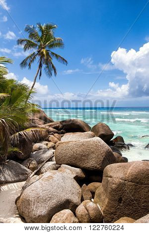 Granite Boulders at the beach on Silhouette Island, Seychelles