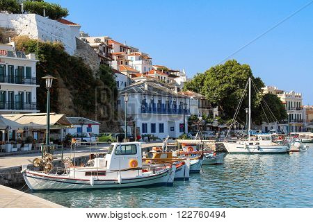 Fishing boats in the harbour of Skopelos, Greece