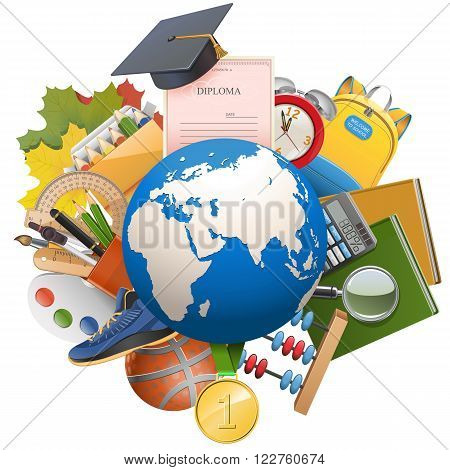Vector Global Education Concept isolated on white background