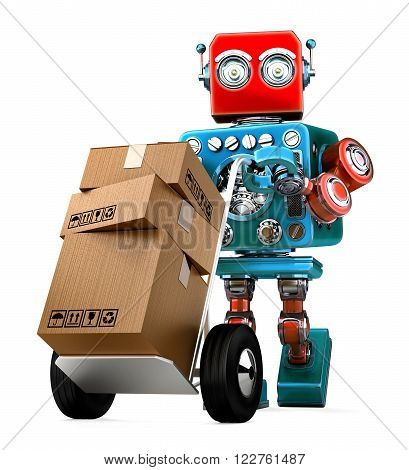 Retro Robot pushing a hand truck with boxes. Isolated over white. Contains clipping path