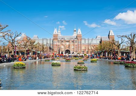AMSTERDAM-APRIL 27: The Rijksmuseum as seen from the Museumplein during King's Day on April 27 2015 the Netherlands. The Rijksmuseum is a Netherlands national museum dedicated to arts and history.