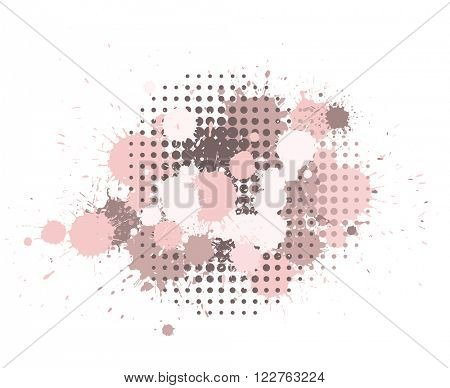 Set of ink blots and halftones dots pattern in pink and brown colors. Rose quartz tint collection.