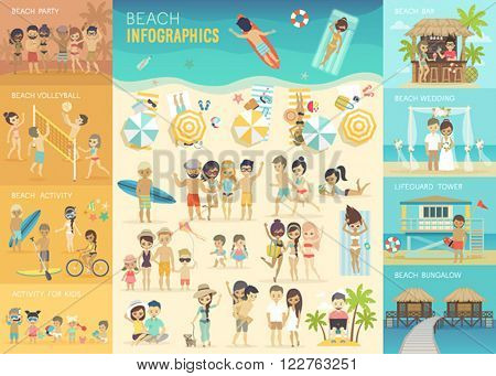 Beach Infographic set with charts and other elements. Vector illustration.