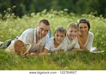 Family having picnic in green summer park