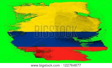 Flag of Colombia, Colombian Flag painted with brush on solid background, ink texture