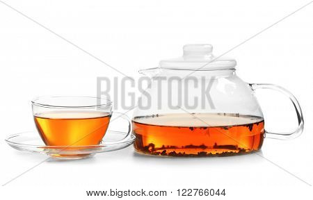 Cup of tea and tea pot isolated on white