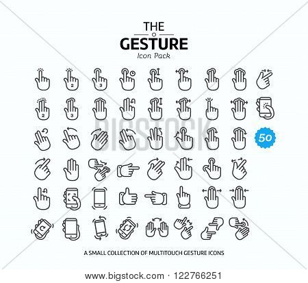 50 gesture line icons 