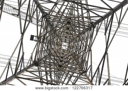 View from under the high voltage pole on sky background.