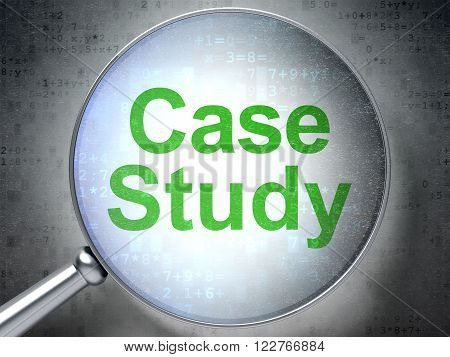 Education concept: Case Study with optical glass