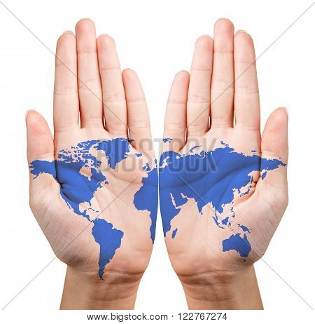 Map painted on the open hands isolated on white. Elements of this image furnished by NASA.