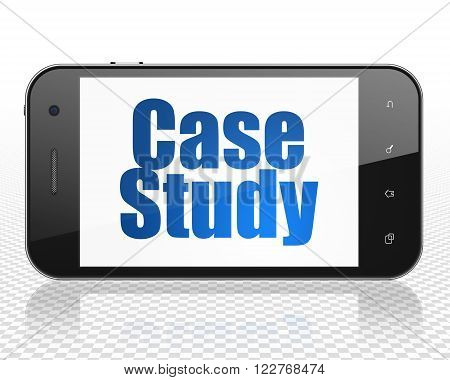 Education concept: Smartphone with Case Study on display