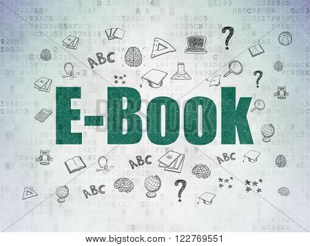 Studying concept: E-Book on Digital Paper background