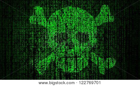 Internet Security concept with skull high quality computer graph