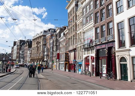 AMSTERDAM-APRIL 27: Rokin during the King's Day in Amsterdam. Rokin is a major street in Amsterdam the Netherlands.