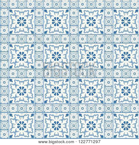 Floor tiles - seamless vintage pattern with cement tiles. Blue and white colors. Seamless vector background. Vector illustration.