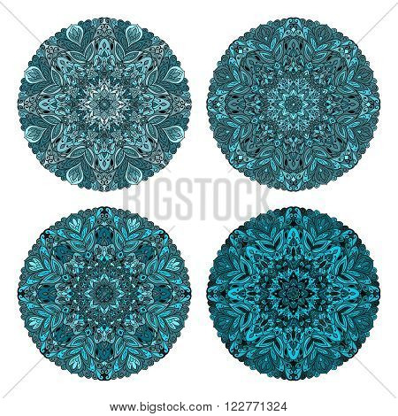 Set of circular patterns. Colored mandala. Round geometric ornaments set. Vector circular geometric ornament. Round pattern.