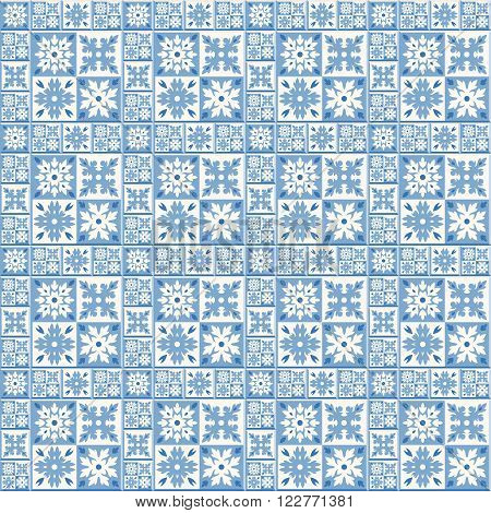 Floor tiles - seamless vintage pattern with cement tiles. Seamless vector background. Vector illustration. Traditional Dutch tiles colors - blue and white.