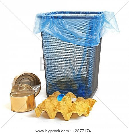 Garbage basket, isolated on white