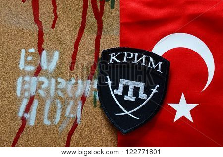 Kiev,Ukraine.FEB 20.ILLUSTRATIVE EDITORIAL.Chevron of Islamic extremist formation Crimea as part of Ukrainian Army.February 20,2016 in Kiev, Ukraine