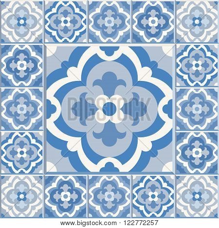 Floor tiles - seamless vintage pattern with cement tiles. Seamless vector background. Vector illustration. One big tile in center is framed in small tiles.