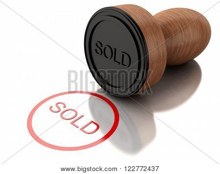 3D Illustration. Seal sold with red text. Isolated white background.