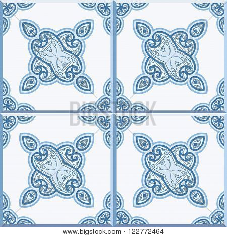 Floor tiles - seamless vintage pattern with cement tiles. Seamless vector background. Vector illustration. Traditional colors for Dutch tiles - blue and white.