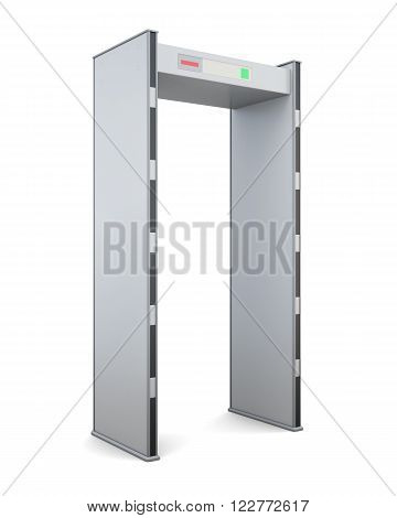 Frame of the metal detector isolated on white background. 3d rendering.