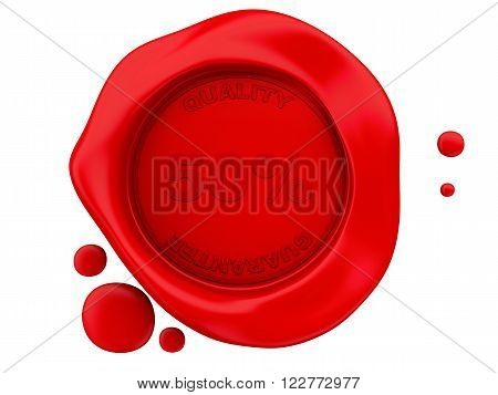 3d renderer image. Red wax seal with 50%. Isolated white background.