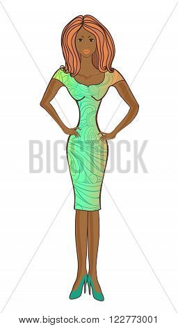 Model mulatto in a dress and shoes with beautiful hair.Vector illustration