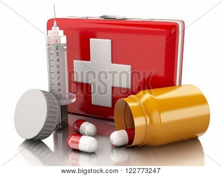 3d renderer image. First aid kit with pills and syringe. Medicine concept. Isolated white background.