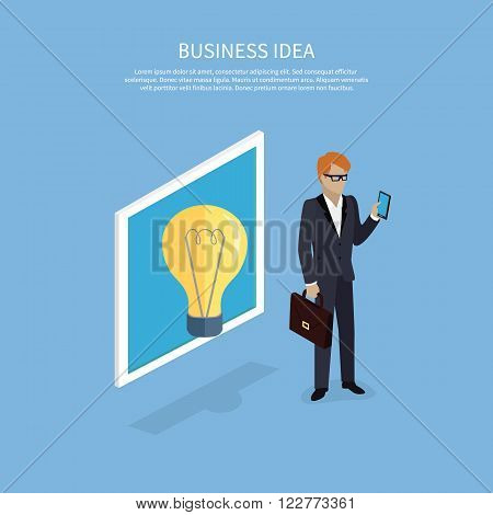 Business idea, man with smartphone design flat. Idea for business, business concept, innovation and business success, entrepreneur with smartphone, person business idea, lightbulb idea illustration