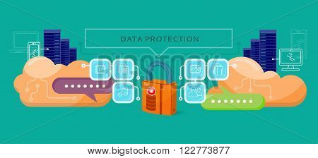 Data protection design flat concept. Data security privacy, security data stream backup, technology web, internet information data protection vector illustration