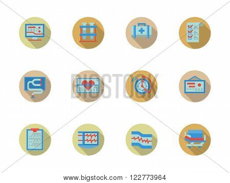 Medical help. Heart care. Cardiology elements. Set of flat color round vector icons with long shadow. Element for web design, business, mobile app.