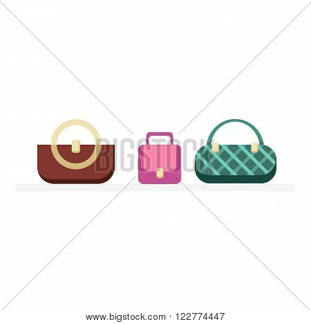Set of handbags design flat isolated. Bag fashion designer handbag, woman handbag, fashion purse, elegance accessory, leather handbags glamour set vector illustration