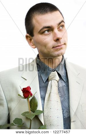 Romantic Man With Rose