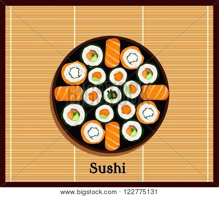 Japanese food sushi design flat. Sushi plate isolated traditional food roll, culture japanese and restaurant seafood vector illustration. Plate with set of sushi on wooden stand