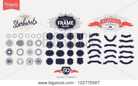 Collection of starbursts labels, frames and ribbons Retro vintage style