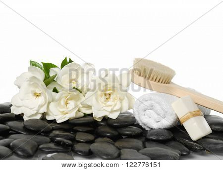 Set of with soap, gardenia , stones, towel,