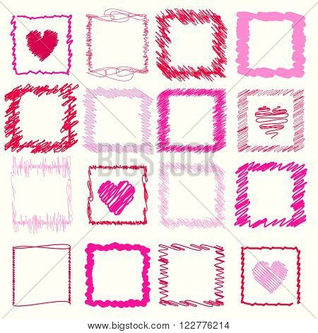 Vector collection of retro scribbled square frames and hearts with hand drawn style of red and pink colors
