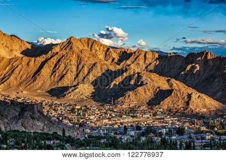 View of Leh town from above from Shanti Stupa on sunset. Ladakh, Jammu and Kashmir, India