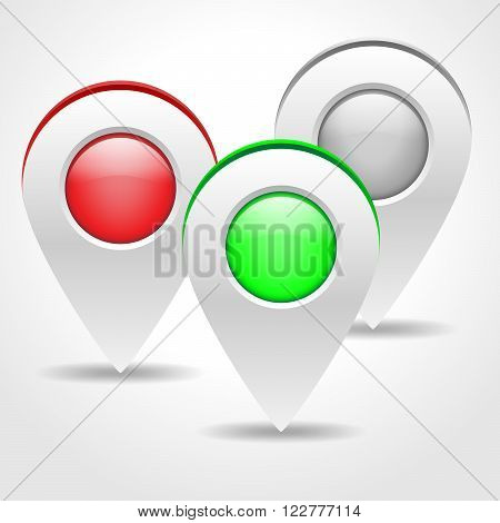 Illustration of three colored navigation markers with shadow. Set of map markers isolated on white background. Map pointers - vector illustration.